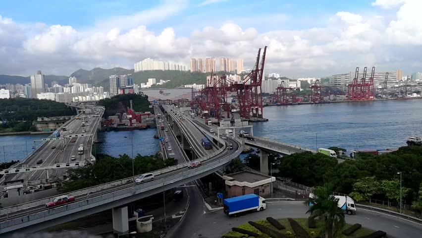 Aerial bird eye view Marine industry Container transport twilight  | Shutterstock HD Video #1018069348