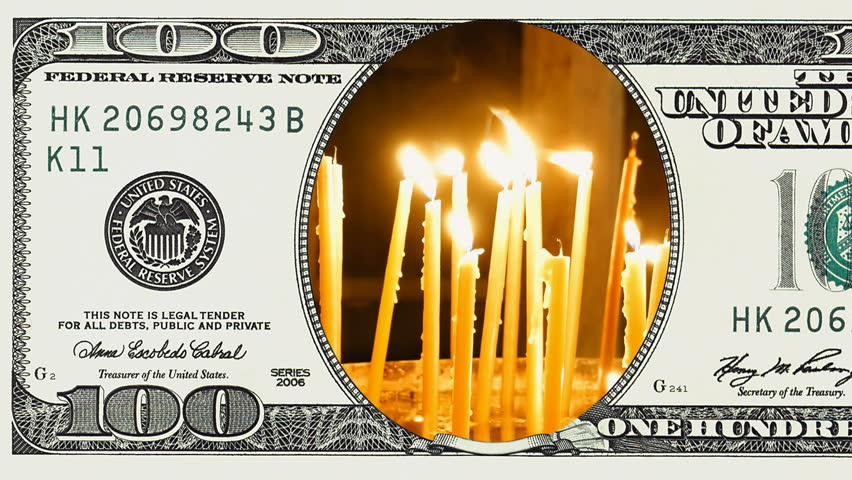 Burning candles in frame of 100 dollar bill. Money gain or lose concept. | Shutterstock HD Video #1018092508