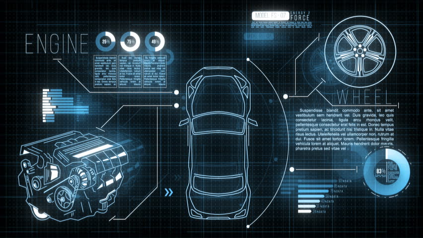 Car HUD Screen. Futuristic motion graphic video with an animated car, engine, wheel and digital data: analysing, loading information process.
