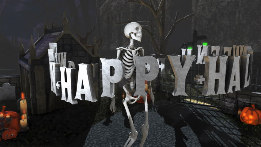 Seamless animation of skeleton with a sexy dance in a cemetery at night. Halloween letters spinning around.   Shutterstock HD Video #1018144258