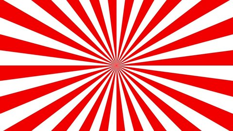 Red retro sunburst background, striped abstract rotating background animation.