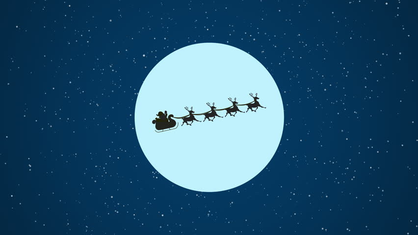 Santa Claus flying with Moonlight. Animation  Seamless Loop. | Shutterstock HD Video #1018165738