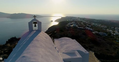 Church on the island of Santorini in aerial view, Greece