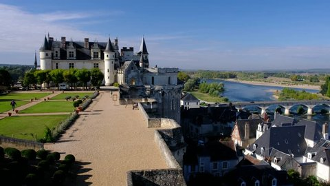 Amboise-France/Loire - October 10 2019 - Royal Amboise castle - The castle, the garden and the Loire river in background - Motion view