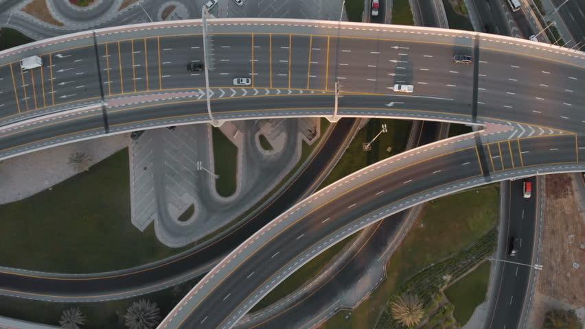 Aerial view of traffic in Dubai. 4K cinematic aerial video | Shutterstock HD Video #1018193998