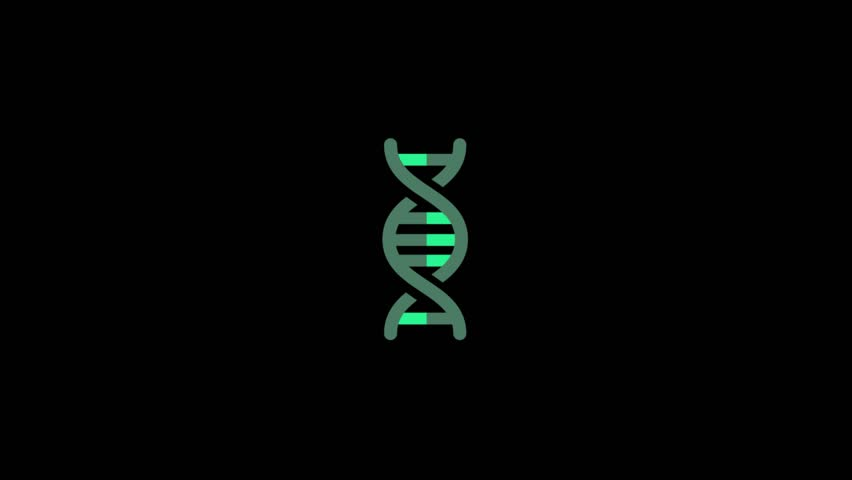 DNA icon animation on black background