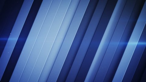 Diagonal stripes and blue light flares. Abstract geometric background. Seamless loop 3D render animation 4k UHD 3840x2160