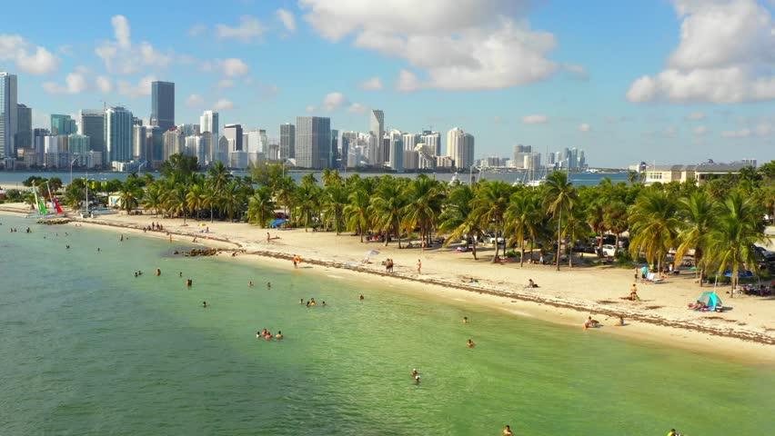 Drone aerial footage Virginia Key tropical Miami Beach