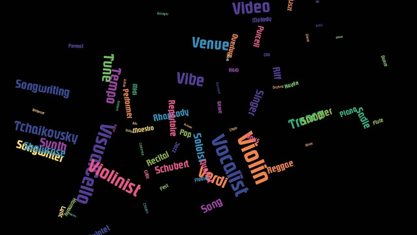 Violin Word Art Cloud Video Text Animation Colorful Letters On Black Backgrou | Shutterstock HD Video #1018268458