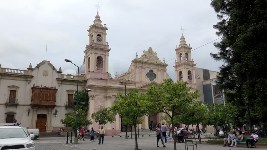 SALTA  - JANUARY 30: Cathedral at the Plaza 9 de Julio in Salta downtown.  January 30, 2018 in  Salta, Argentina
