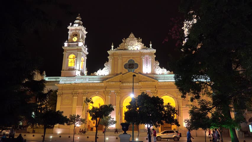 SALTA  - JANUARY 30: Cathedral at the Salta downtown by night.  January 30, 2018 in  Salta, Argentina