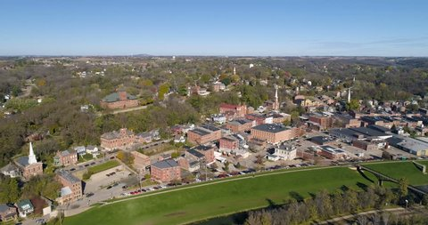 Charming small town of Galena, Illinois aerial view.