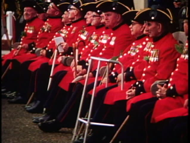 LONDON, ENGLAND, 1976, Royal Chelsea pensioners, disabled men seated, walkers | Shutterstock HD Video #1018511218