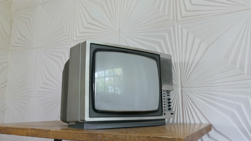 Vintage tv. Old 80s Television. Slider shot  | Shutterstock HD Video #1018524598