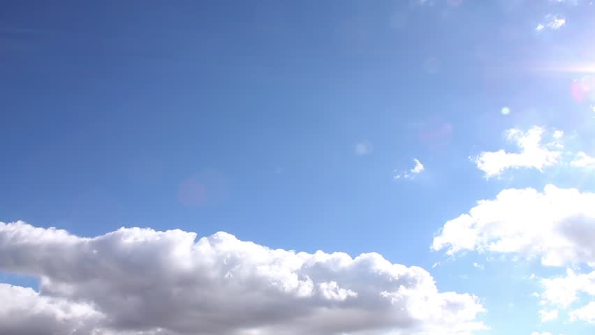 Sunny white clouds time lapse, clean blue sky in horizon, beautiful fluffy building cloudscape in panoramic view, nice relaxing weather. #1018547428