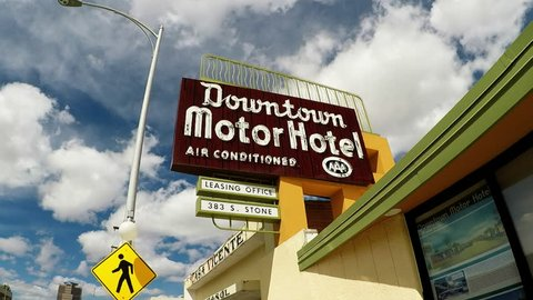 Tucson, AZ/USA - April 26, 2018: Shot of a historic Downtown Motor Hotel sign in Tucson Arizona. Sign advertises air conditioning available with lodging accommodations.