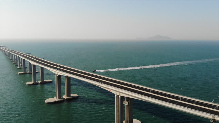 Hong Kong–Zhuhai–Macau Bridge | Shutterstock HD Video #1018731778