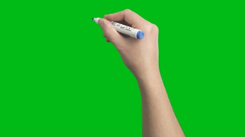 Male Hand Whiteboard Blue Marker Scribble Writing Short Strokes Loop Animation  shot on Green Screen Chroma Key and Prekeyed for One Click Keying