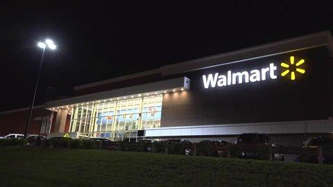Walmart supercenter two level storefront, Saugus Massachusetts USA, November 3, 2014