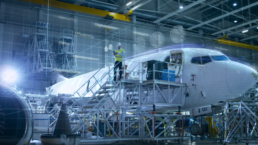 Concept of: In Hangar Engineer Holding Tablet Computer Standing On a Ramp Near Airplane Conducts Digitilized Maintenance Analysis. Animated