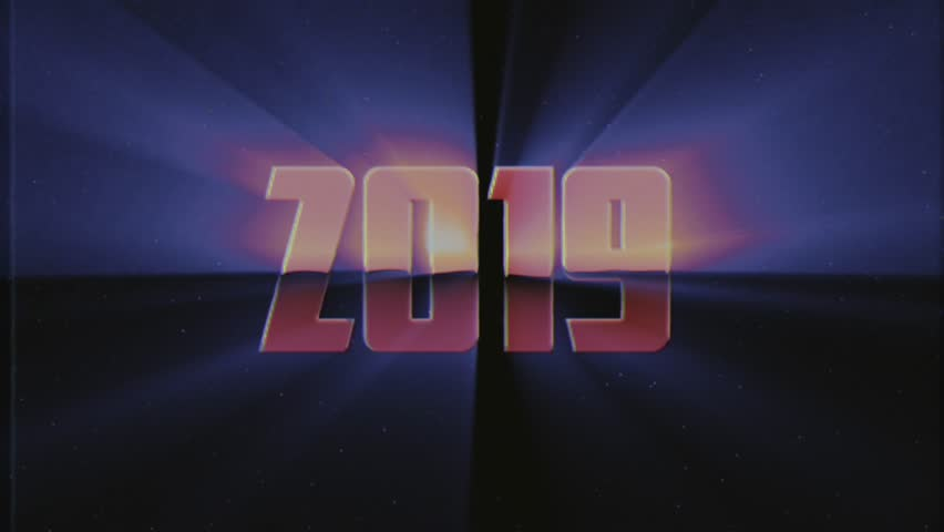 Shiny retro 80s 90s style 2019 new year text fly in and out in stars space VHS effect animation background loop new unique holiday vintage beautiful dynamic joyful colorful video footage | Shutterstock HD Video #1018874368