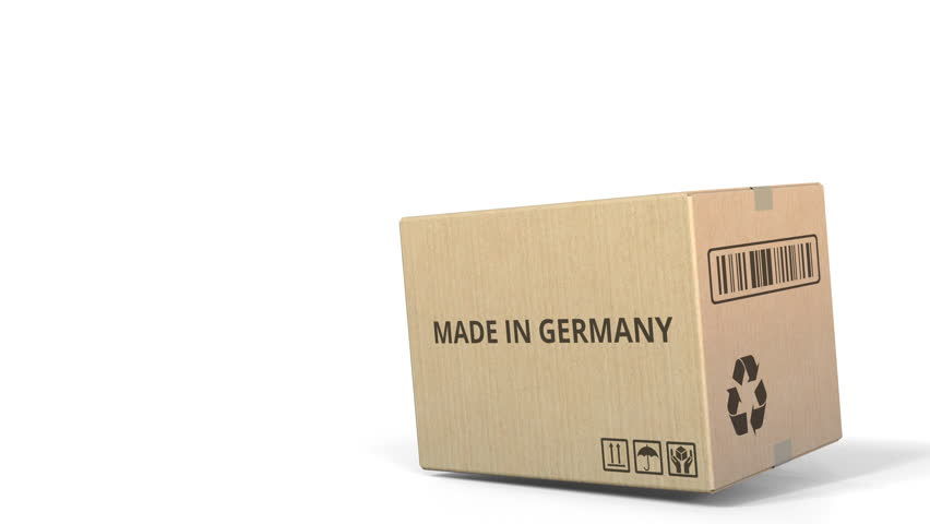 Falling box with MADE IN GERMANY inscription. 3D animation | Shutterstock HD Video #1018882858