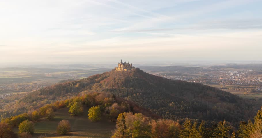 Day to night time lapse view of Hohenzollern Castle, Baden-Wurttemberg, Germany | Shutterstock HD Video #1018889728