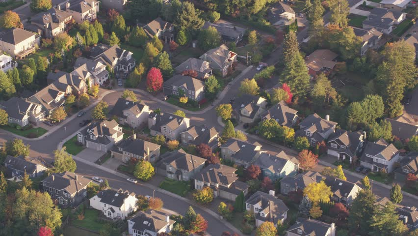 Property housing from aerial view in Oregon USA