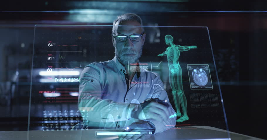 Medical Professional Doctor Analyzing Futuristic Virtual Hud Display Data In A Lab Future Of Medical Technology Concept Red Epic 8K | Shutterstock HD Video #1018995208