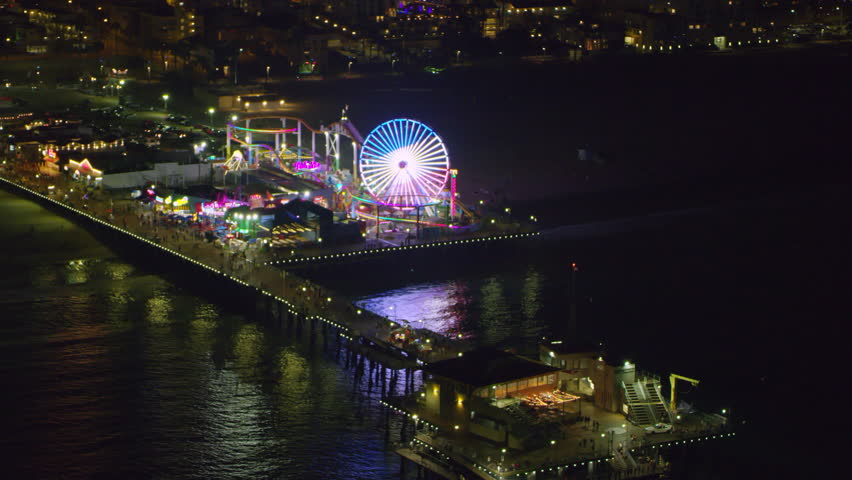 What a view! Best clip of Santa Monica pier you need. Aerial view of Santa Monica pier on a clear night in Los Angeles, California. Shot on 4K RED camera. Buy now.