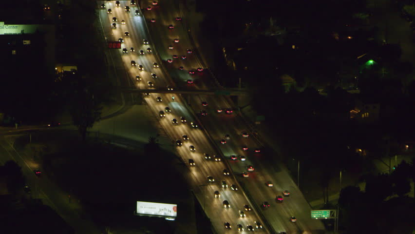 Aerial view of highway in city on a clear night in Los Angeles, California. Shot on 4K RED camera.