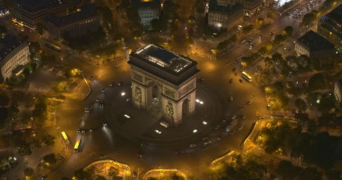 France Paris Aerial v63 Low birdseye of Arc de Triomphe to panning to Champs-Elysees to Avenue Foch 8/18