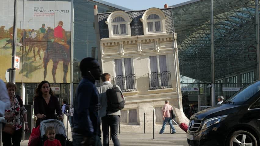 Paris, France - September 2018. The Melting House sculpture at Gare du Nord Rail Station terminus Entrance, Rue de Dunkerque, 10th arrondissement, Paris, France