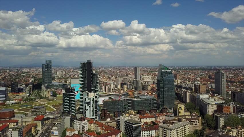 MILAN, ITALY - MAY 11 2018: sunny day milan city central district aerial panorama 4k circa may 11 2018 milan, italy.   Shutterstock HD Video #1019193658