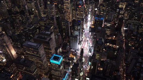 6012f0084e602 New York City Circa-2015, wide angle aerial view over Times Square at night