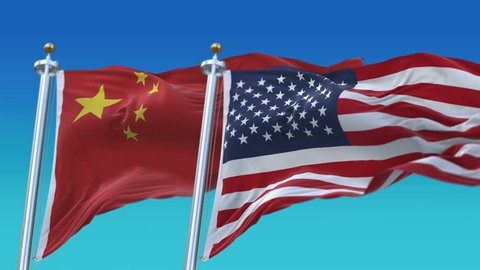 4k Seamless United States of America and China Flags with blue sky background,A fully digital rendering,The flag 3D animation loops at 20 seconds,USA CN.