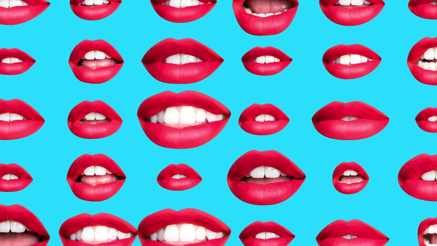 Sequence of different images of woman's beautiful full red lips made into a repeating wallpaper pattern | Shutterstock HD Video #1019447188