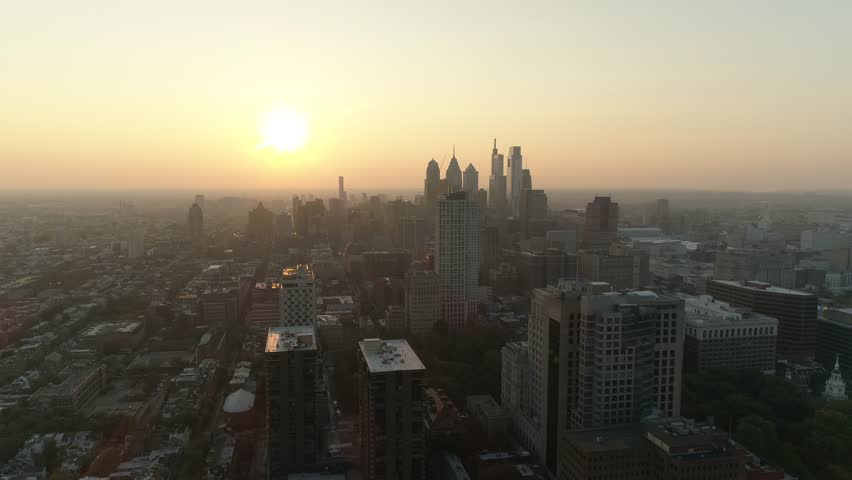 Philadelphia City Skyline Sunset Aerial Drone 4K | Shutterstock HD Video #1019504938