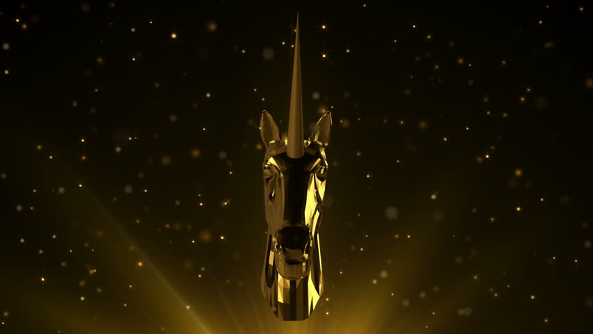 Rotating award statue unicorn in gold on lens flares and moving particles background. For any award ceremony.  Seamless loop.  | Shutterstock HD Video #1019536048