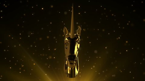 Rotating award statue unicorn in gold on lens flares and moving particles background. For any award ceremony.  Seamless loop.