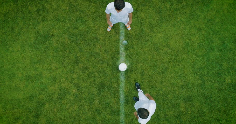 Aerial Top Down View of Soccer Field and Two Professional Teams Playing. Kick off Start of the Energetic Match on International Championship | Shutterstock HD Video #1019537578