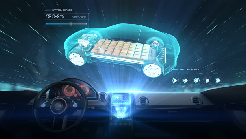 Inside Of Future Hybrid Cars Rotating Electronic Car Charging Lithium Ion Battery Cell Echo Eco Friendly 4k Movie