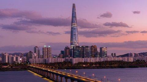 Time lapse Day 2 night Seoul Subway and Seoul City Skyline at Han river Seoul, South korea.14 November 2018.