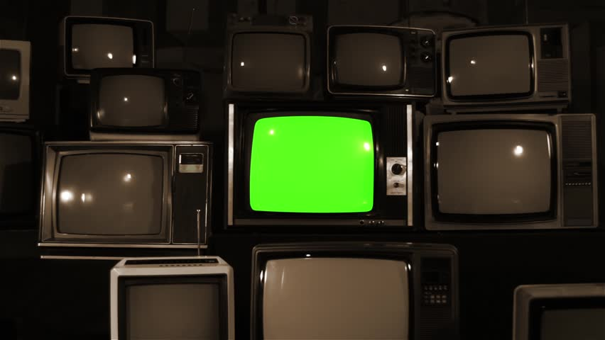 "80s TV Green Screen with Many 80s Tvs. Dolly In. Sepia Tone. Ready to Replace Green Screen With any Footage or Picture you Want. You Can Do it With ""Keying"" (Chroma Key) Effect. 