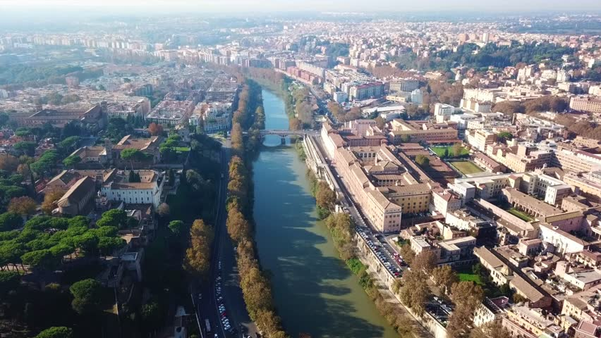 Aerial drone view video of Tiber river in iconic city of Rome next to Prati and Flaminio districts, Italy | Shutterstock HD Video #1019755978