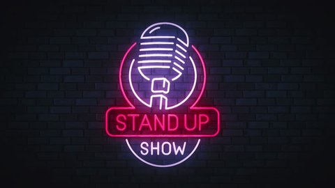 Stand Up neon sing. Logo, emblem, banner and label, bright signboard, light movie