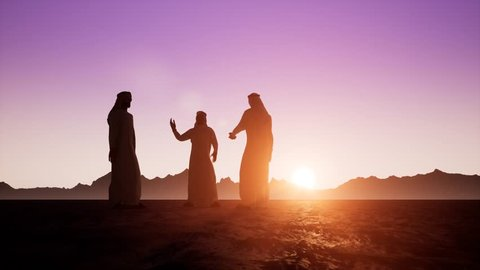 The silhouettes of three Arabs in dishdasha are talking to each other. Beautiful dawn sunrise