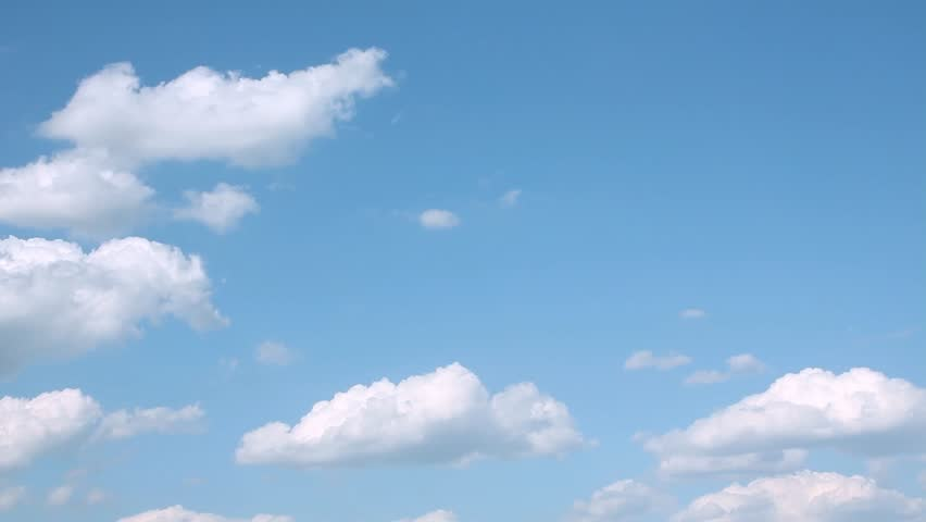 Clean blue sky, white formating clouds time lapse, nature summer sunny day, building cloudscape in horizon, clear day. Cloudy time. Beautiful exotic colors. #1019773828