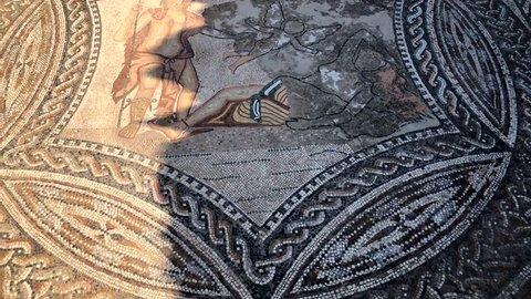 Mosaic of the Roman ancient ruins of the Volubilis city in UNESCO, Morocco in Africa