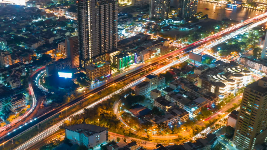 Cityscape aerial view timelapse at night bangkok, Busy traffic across main road at rush hour thailand.   Shutterstock HD Video #1019950798